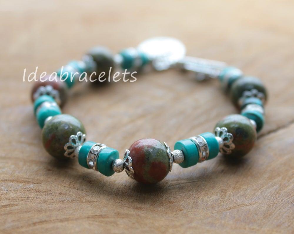 Image of Unakite Gemstone Tree of Life Silver Bracelet