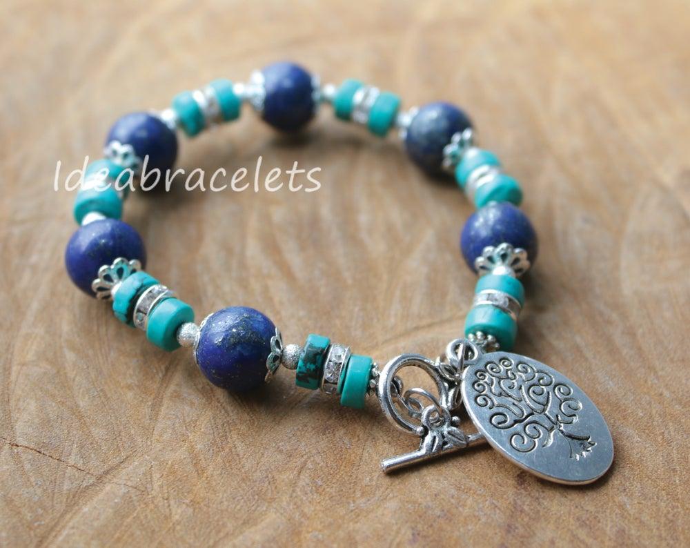 Image of Lapis Lazuli Gemstone Tree of Life Silver Bracelet