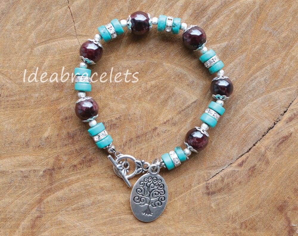 Image of Garnet Gemstone Tree of Life Silver Bracelet