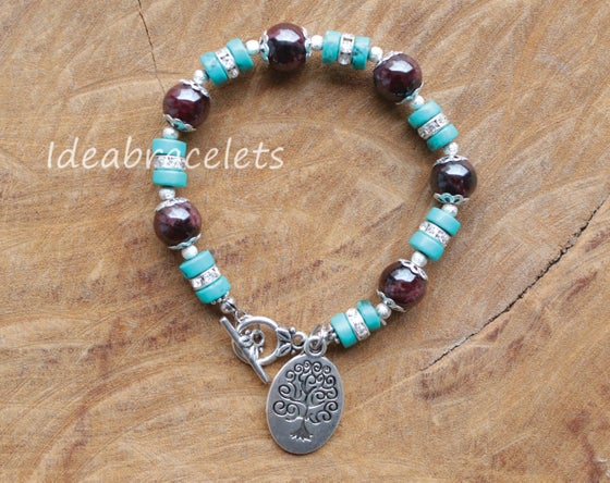 Image of Garnet Gemstone Tree of Life Silver Bracelet