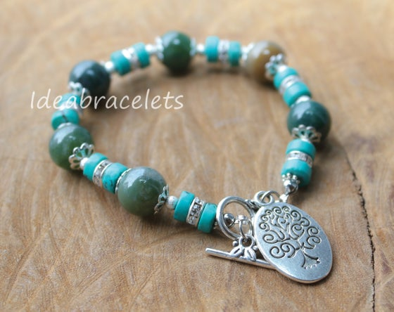 Image of Multicolors Green Jade Gemstone Tree of Life Silver Bracelet