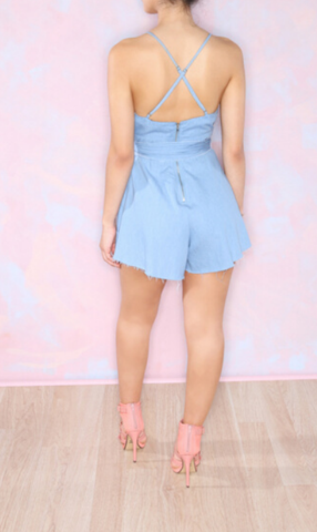 Image of HOT CUTE BLUE BOW ROMPER JUMPSUIT