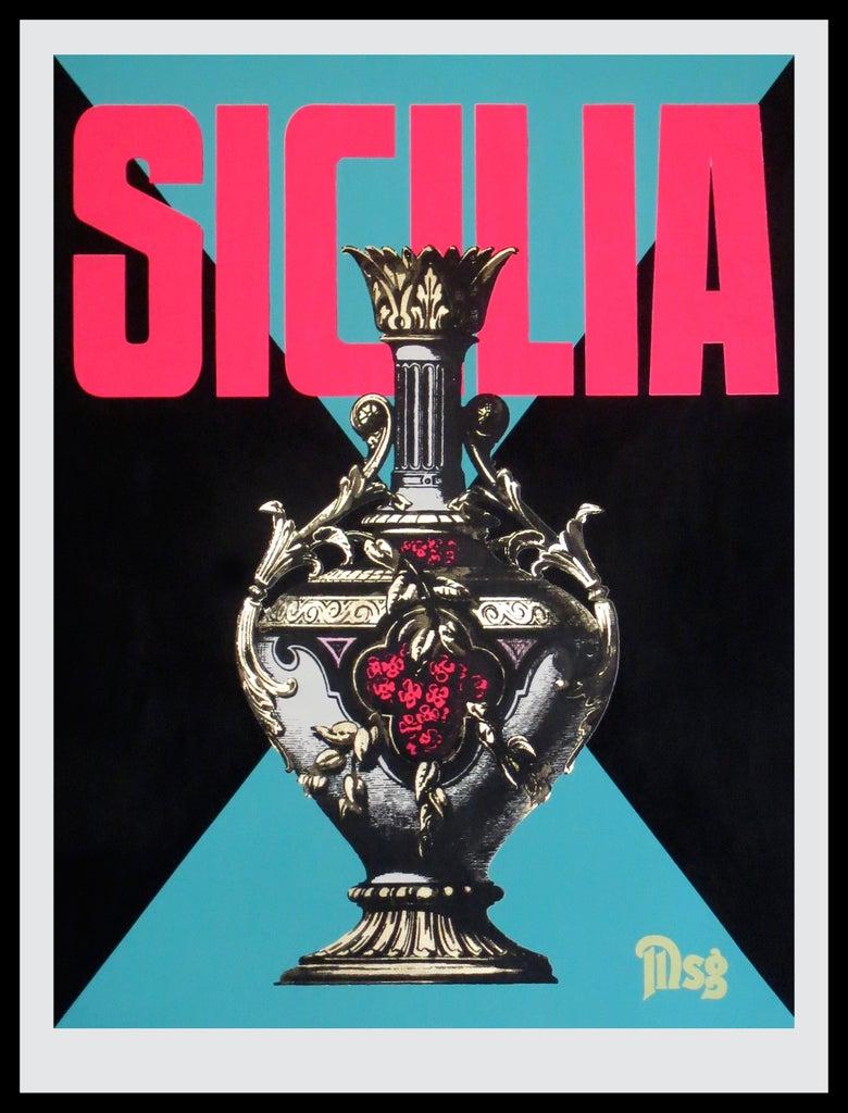 Image of Sicilia -Urn-Black/Aqua/Hot Pink