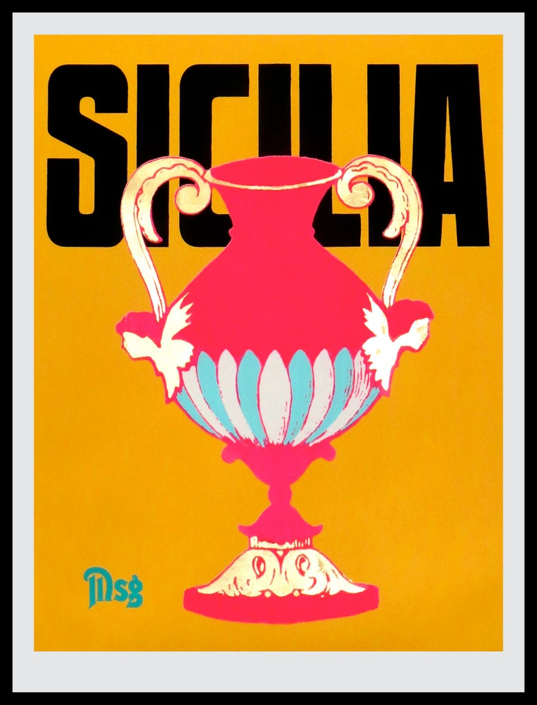 Image of Sicilia -Urn-Yellow/Black/Hot Pink