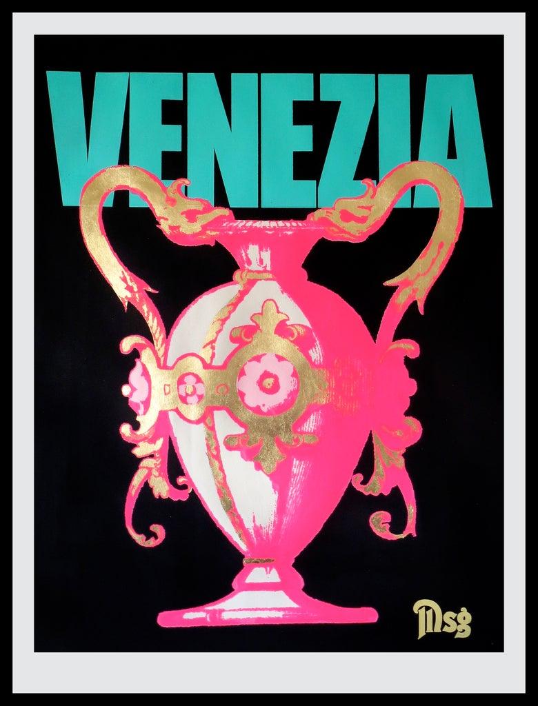 Image of Venezia -Urn-Black/Aqua/Hot Pink