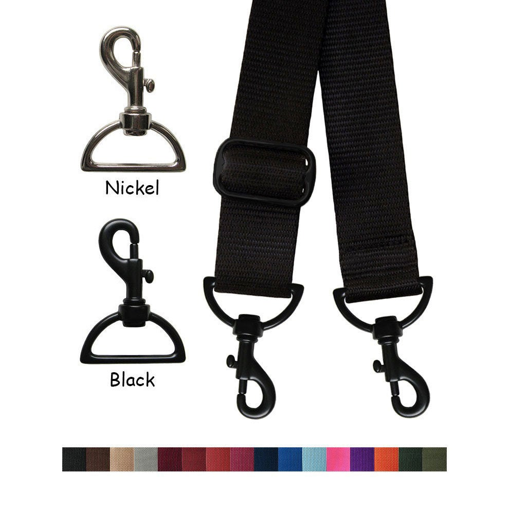 "Image of Nylon Webbing Strap - Adjustable - 1.5"" (inch) Wide - Choose Color, Length & Nickel/Black #19 Hooks"