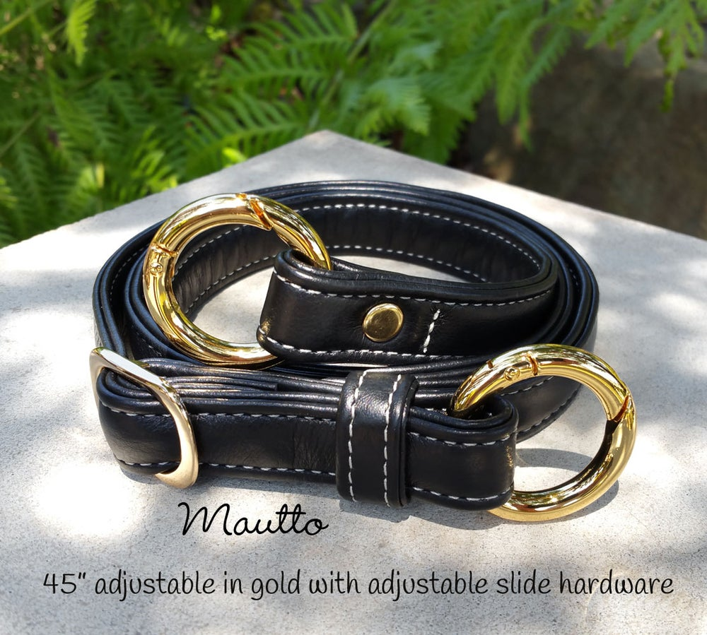 "Image of ON SALE! Black Leather Strap w/ White Stitching - .75"" Wide - Choice of Length & O-Ring Hardware"