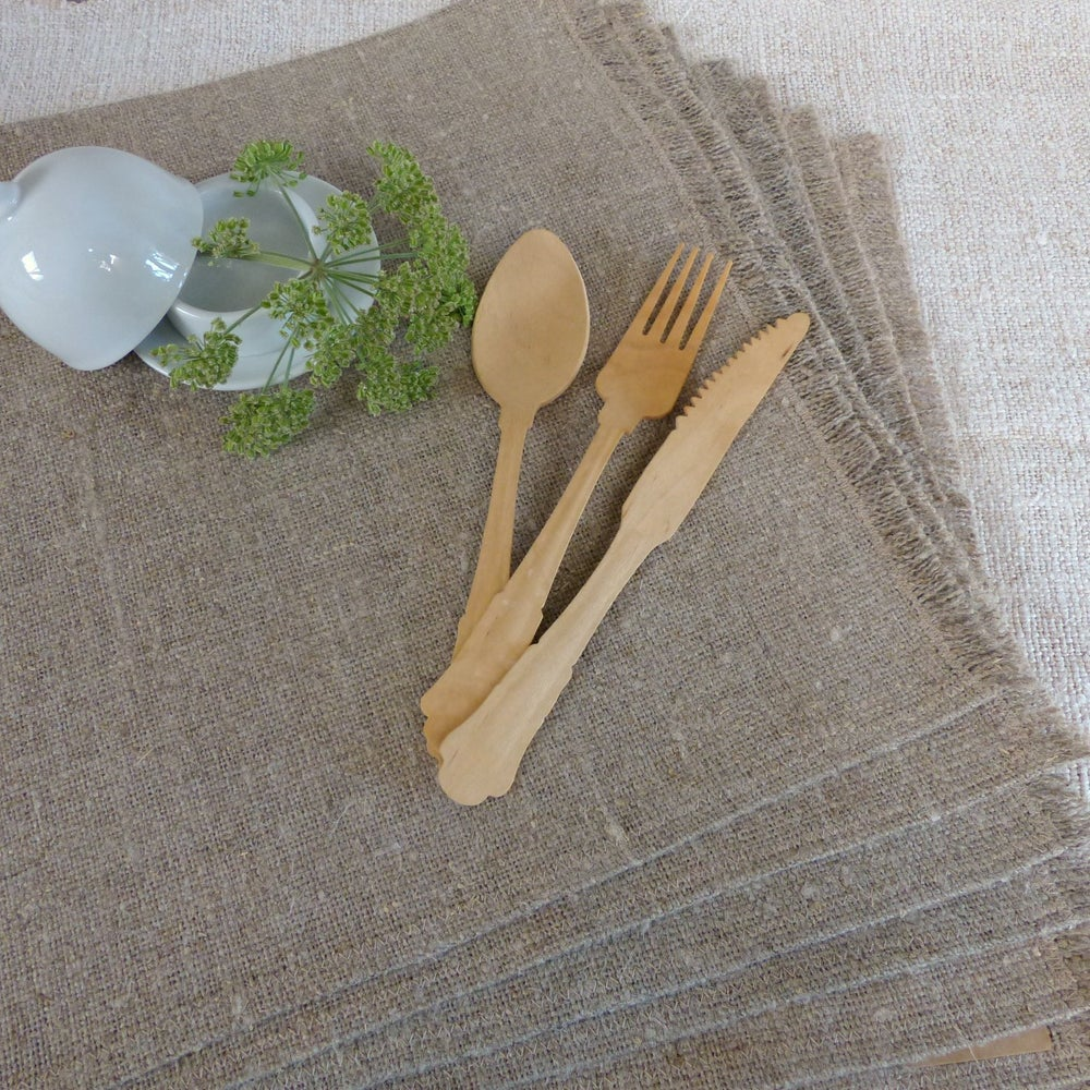 Set de table lin brut franges ourlets au fil des pi ces - Set de table en lin ...