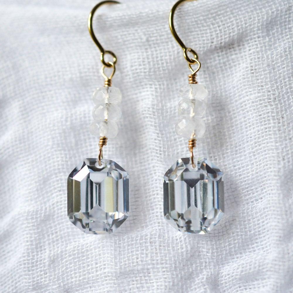 Image of Octagon cubic zirconia rainbow moonstone earrings, bridal jewelry