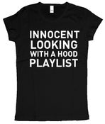 Image of Innocent looking with a hood (Women's) t shirt