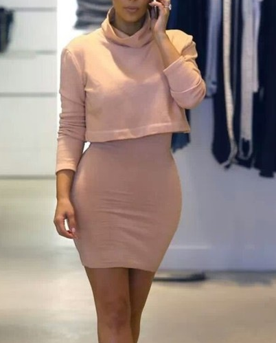 Image of HOT FASHION SHOW BODY TWO-PIECE LONG-SLEEVED DRESS A
