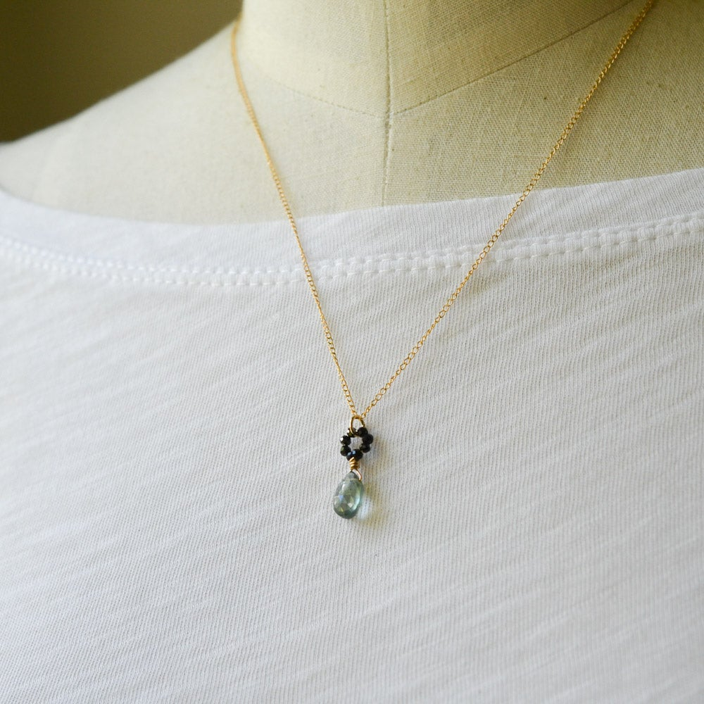Image of Tiny moss aquamarine necklace with black spinel beads