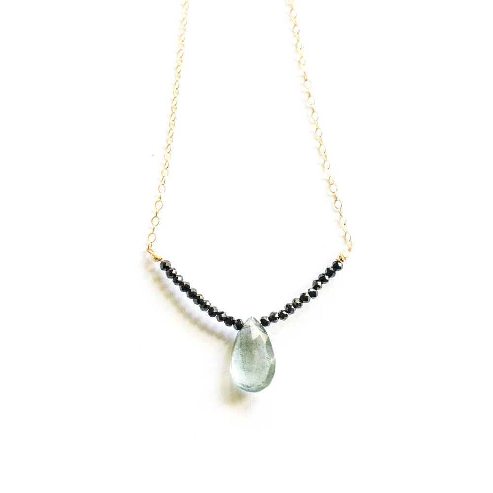 Image of Moss aquamarine necklace with black spinel beads gold