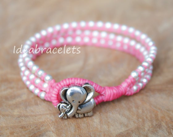 Image of Silver Triple Wrap Elephant Bracelet For Mom & Baby - Pink