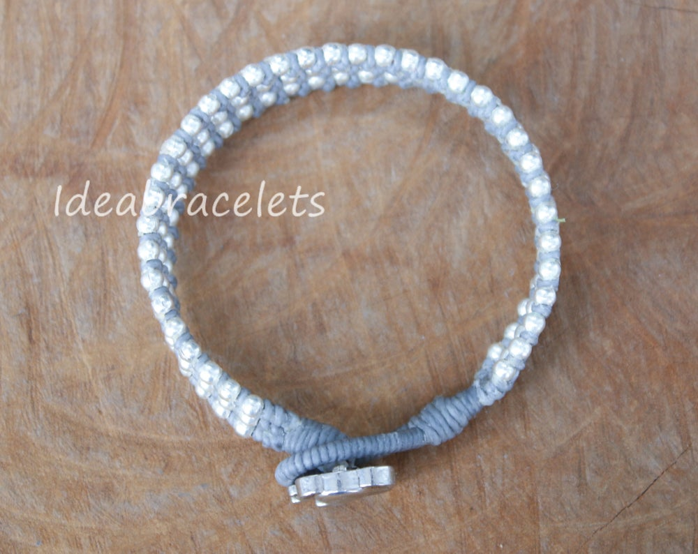 Image of Silver Triple Wrap Elephant Bracelet For Mom & Baby - Gray