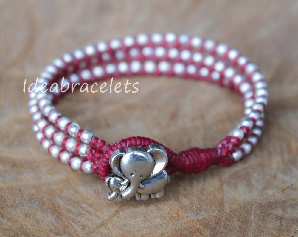 Image of Silver Triple Wrap Elephant Bracelet For Mom & Baby - Maroon