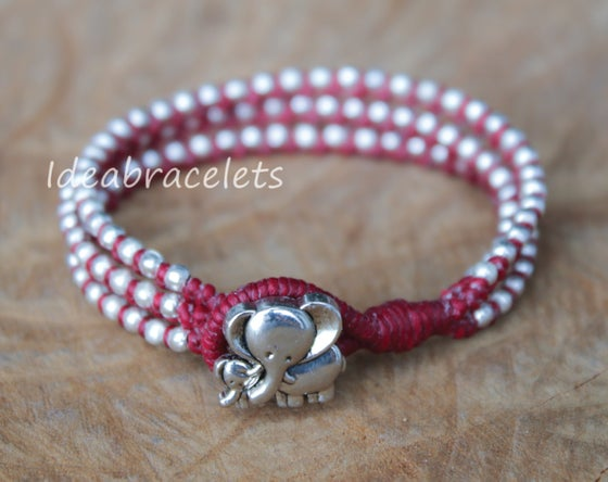 Image of Silver Triple Wrap Elephant Bracelet For Mom & Baby - Maroon