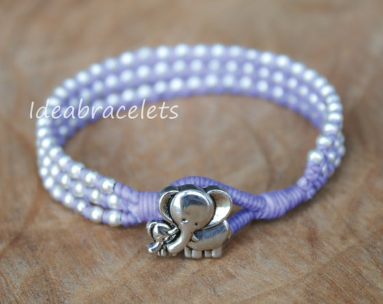Image of Silver Triple Wrap Elephant Bracelet For Mom & Baby - Purple