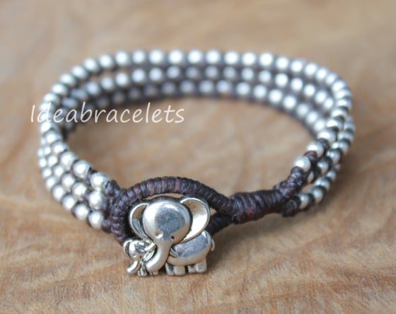 Image of Silver Triple Wrap Elephant Bracelet For Mom & Baby - Brown