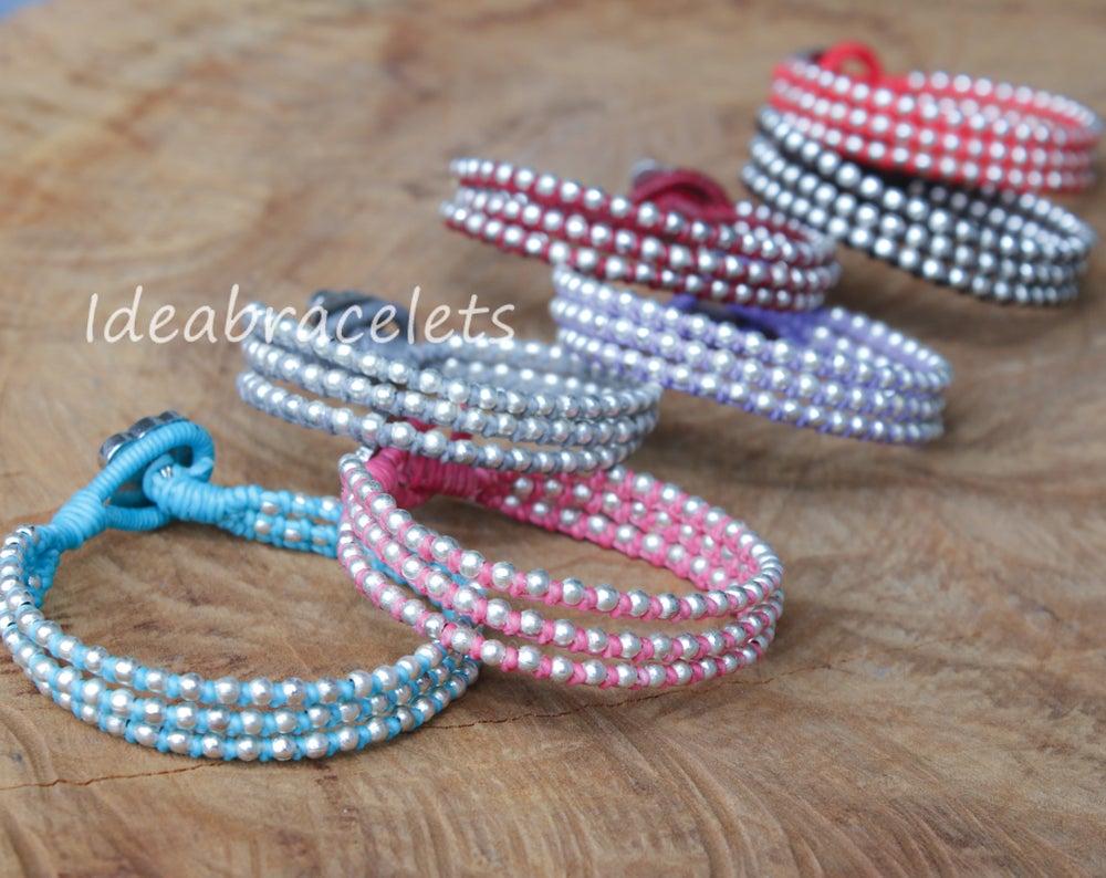 Image of Silver Triple Wrap Elephant Bracelet For Mom & Baby - Blue