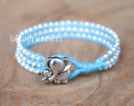 Image of Silver Triple Wrap Elephant Bracelet For Mom & Baby - Blue