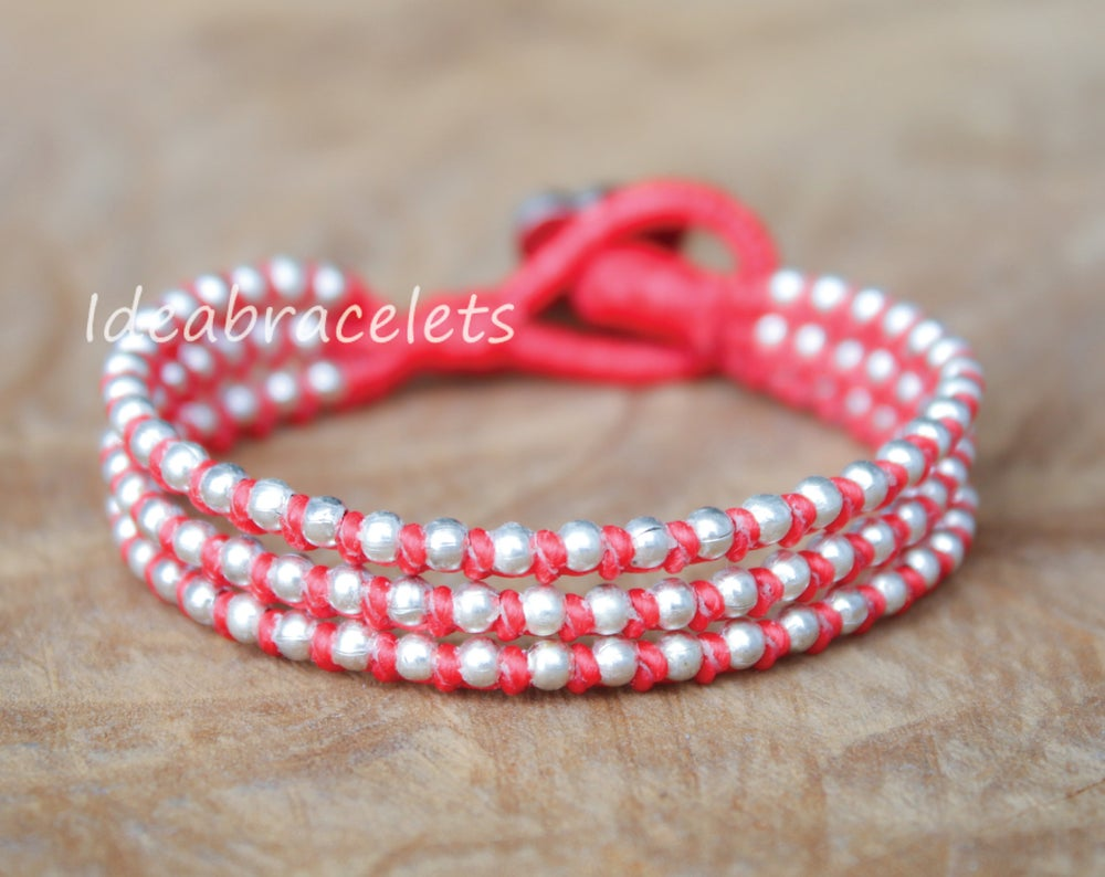 Image of Silver Triple Wrap Elephant Bracelet For Mom & Baby - Red