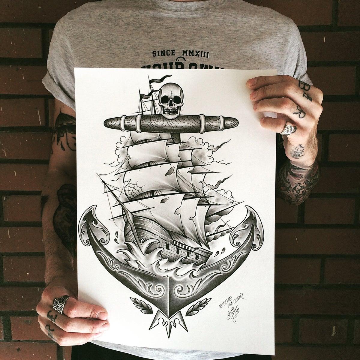 Image of TRAD ANCHOR SHIP PRINT