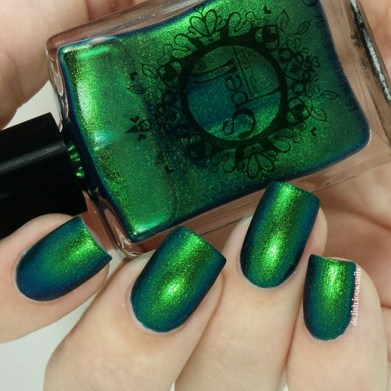 """Image of ~Clodhopper~ emerald green/yellow duochrome Spell nail polish """"Revenge of the Duds""""!"""