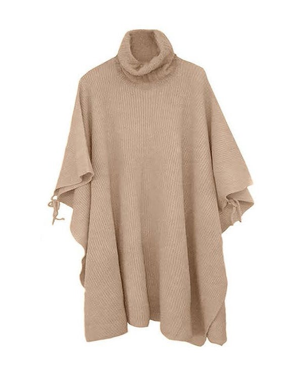 Image of PALE APRICOT TURTLE NECK KNIT CAPE