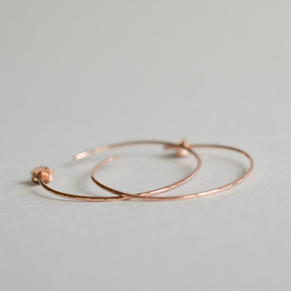 Image of Thin rose gold hoop earrings