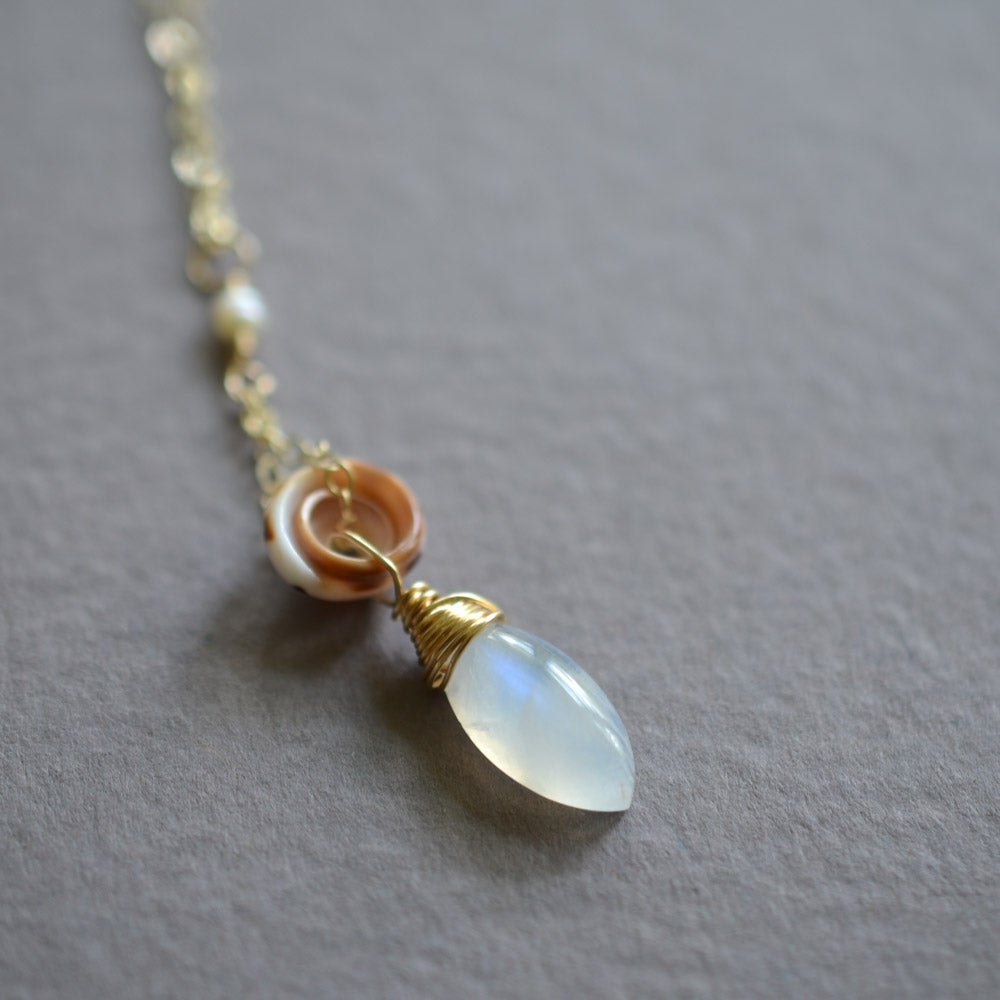 Image of Puka shell necklace with rainbow moonstone and pearls