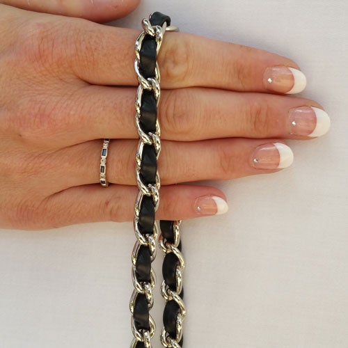 Image of Classic NICKEL Chain Bag Strap with Leather Weaved Through - Choice of Length & Hooks