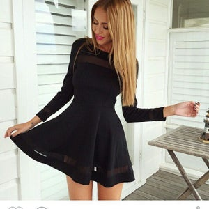 Image of CUTE LONG SLEEVE NET SHOW BODY SEXY FRESH DRESS