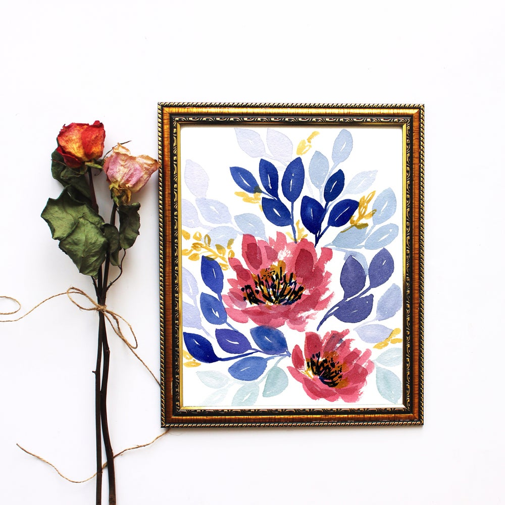 Image of Pink and blue bouquet