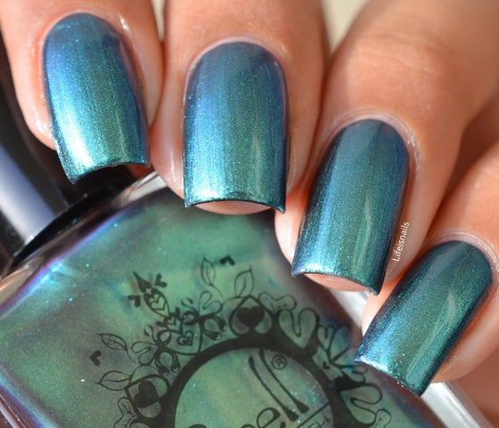 """Image of ~Curmudgeon~ turquoise/jade/violet multichrome Spell nail polish """"Revenge of the Duds""""!"""