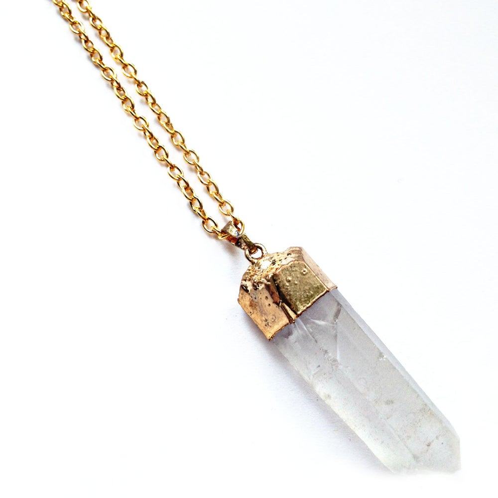 Image of Gold Dipped Clear Quartz Necklace