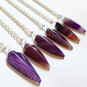 Image of Purple Agate Arrowhead Necklace