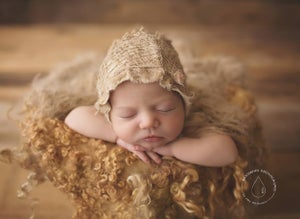 Image of ~Burlap set ~ bonnet+tieback