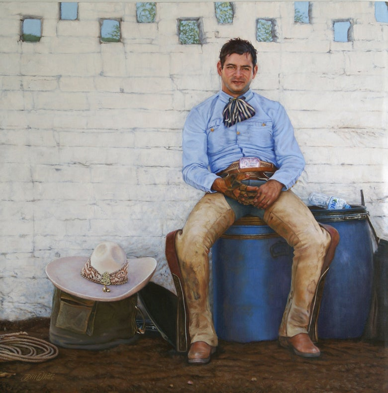 "Image of Bill White-After the Bullride 36"" H x 36"" W"