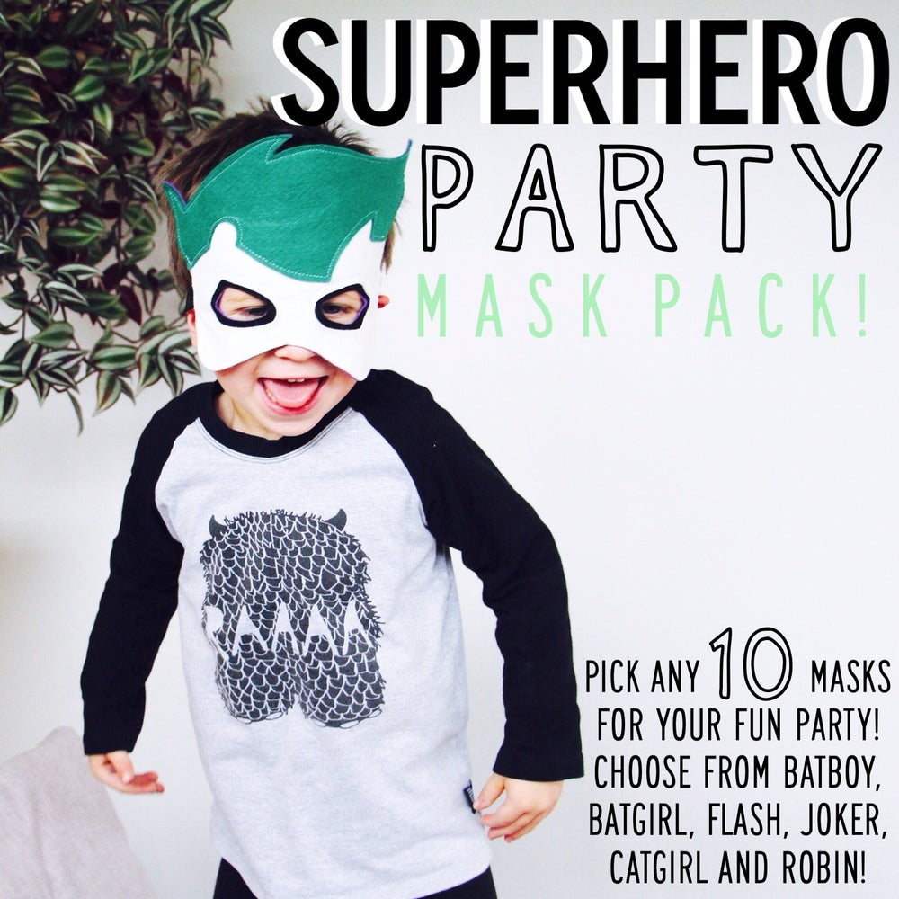 Image of SUPERHERO PARTY PACK! choose any 3 or 5 or 10 masks