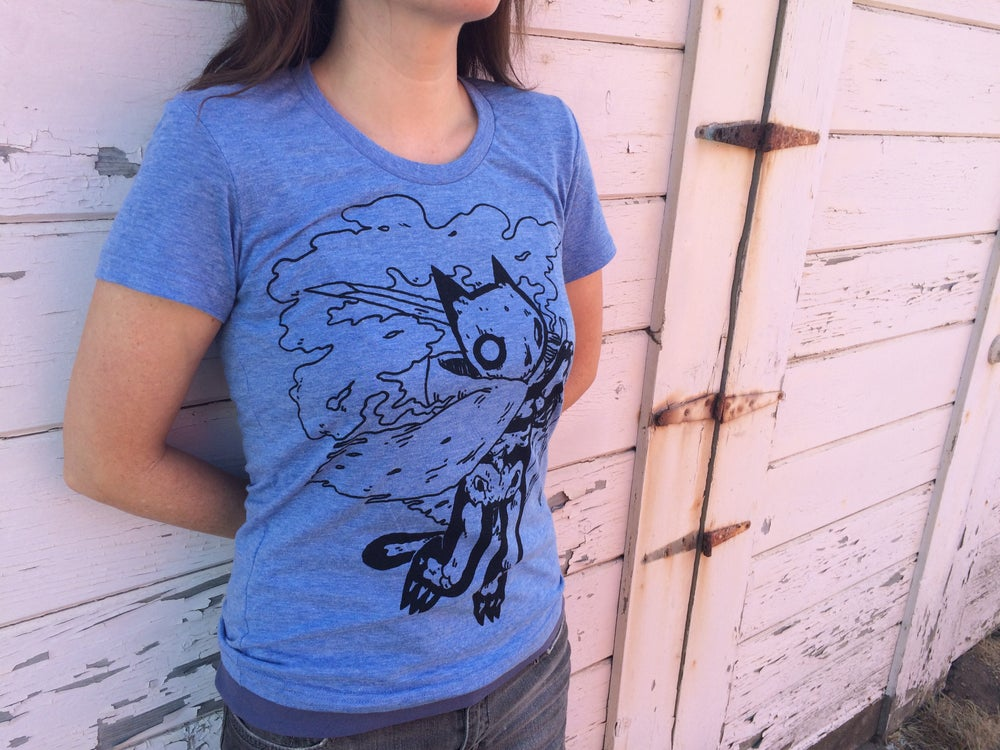 Image of Ladies Skeleton Cat Shirt Blue