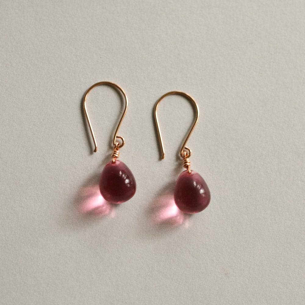 Image of New Grapefruit pink glass drop earrings