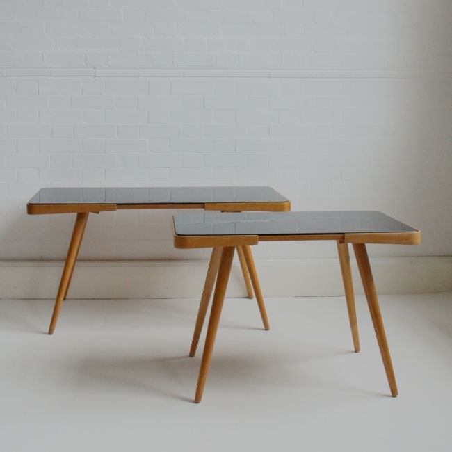 Image of mid-century wood and glass table (large)