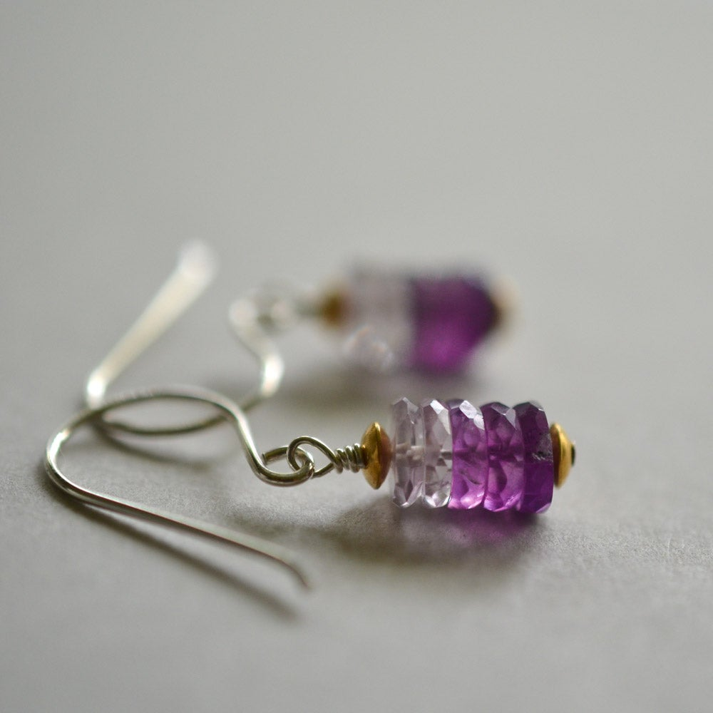 Image of Amethyst ombre earrings mixed metal