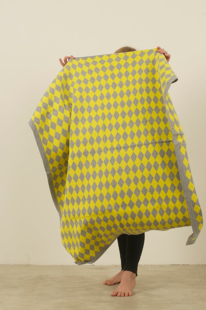 Image of Harlequin Blanket Yellow Grey