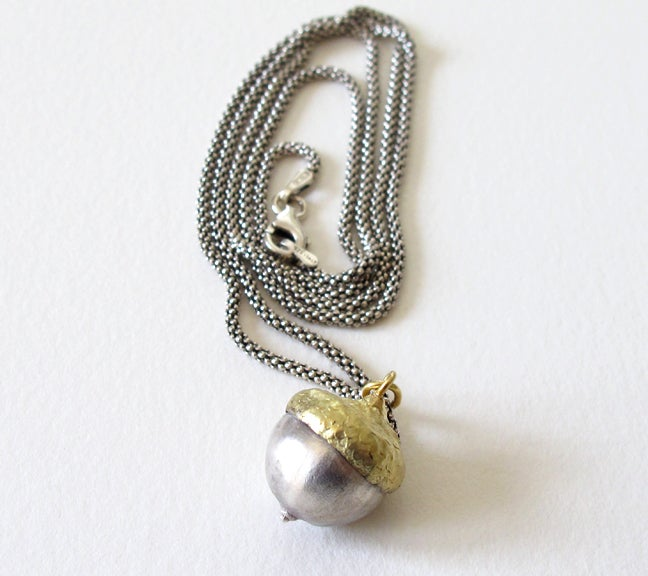Image of Acorn Pendant 18k and Sterling Silver