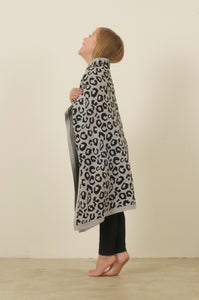 Image of Leopard Blanket Grey & Black