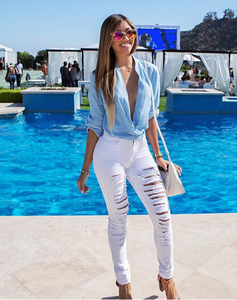 Image of SEXY FASHION RIPPED JEANS FEET PANTS PANTS STRETCH PANTS BEGGARS