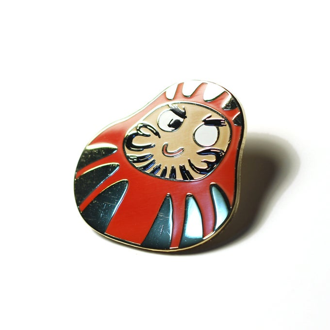 Image of JFishMOJIS Daruma Doll Lapel Pin