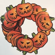 Image of Pack of 4 Miami Jack-o-lantern Stickers (free when you purchase 2 or more shirts)